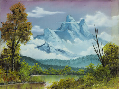 Bob Ross, ' Bob Ross Towering Peaks Signed Original Painting Contemporary Art', 1980-2000