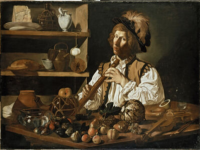 Cecco del Caravaggio, 'Interior with a Young Man holding a Recorder', 1615-1620