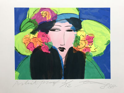 Walasse Ting 丁雄泉, 'Lady with the lime hat', 1988