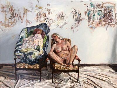 Amanda Davies, 'The artist's model, with crushed Stoner painting', 2019