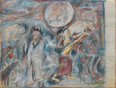Pei Zhuangxin, 'Sketch ⼿稿《夏魯寺的⽉光》', 2006