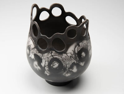 Carol Berger, 'Conoite-Contemporary black and white, naked raku ceramics, cutouts and repetitive circles', 2019