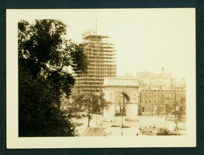 John Sloan, 'View of Washington Square Arch with high rise under construction in background', ca. 1927