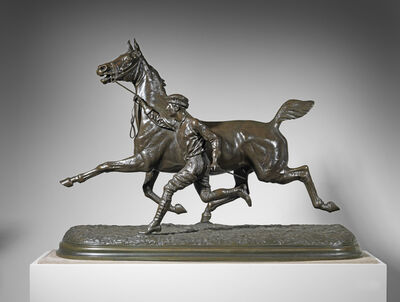 Arthur-Marie-Gabriel Comte du Passage, 'Horse and Groom Trotting, Large Version', ca. 1881