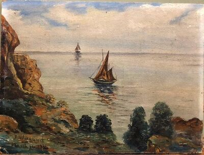 A. Wiegand, 'Idyllic Modernist Marine Scape Boat with Cliffs Oil Painting', 1930-1939