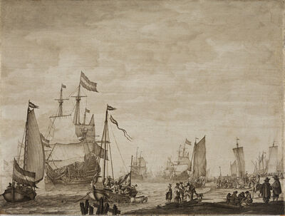 Willem van de Velde I, 'Two Boeier Yachts Close in to the Shore with a Flagship Coming in to Anchor', ca. 1650