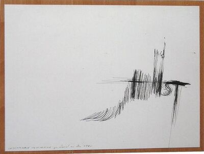 Gerhard Rühm, 'Ballpoint pen drawing on cardboard', 1985