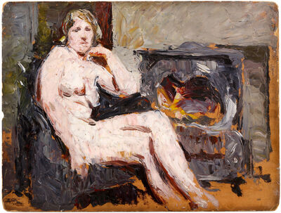 Ronald Ossory Dunlop, 'Nude seated by stove'