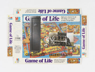 Simon Denny, 'Centralized vs Decentralized Conway's Game of Life Box Lid Overprint: 1978', 2018