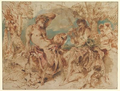Giovanni Benedetto Castiglione, 'Youth Playing a Pipe for a Satyr', 1645–1650