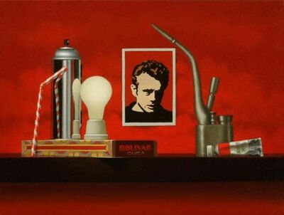 Mimi Jensen, 'Outlaws / oil on canvas, red still life, James Dean, cultural commentary', 2019