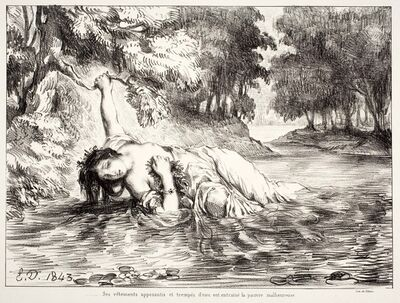 "Eugène Delacroix, 'Mort d'Ophélie (Act IV. Sc. VII), from the series ""Hamlet""', 1843"