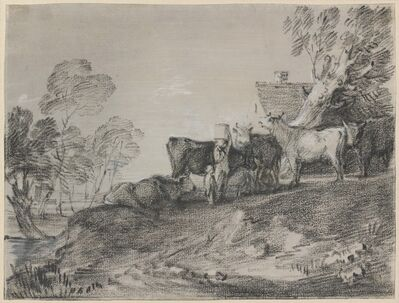 Thomas Gainsborough, 'Landscape with Cattle by a Cottage', late 1770s