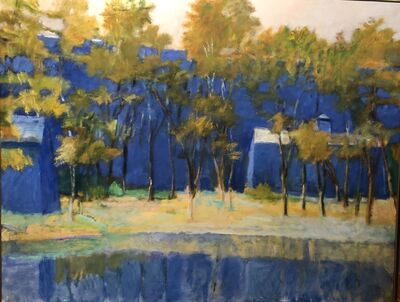 Wolf Kahn, 'Two Farm Buildings and a Pond', 1989