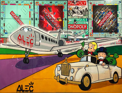 Alec Monopoly, 'Monopoly and richie riding on runaway', 2019