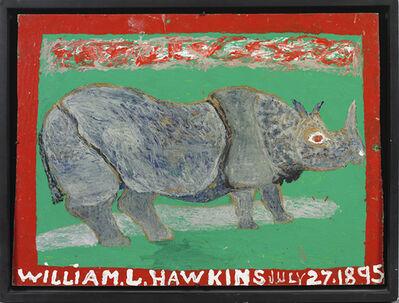 William Hawkins, 'Rhino with Red Border, Grey Background', 1984