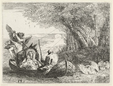 Giovanni Domenico Tiepolo, 'The Holy Family Being Ferried Across the River', published 1753
