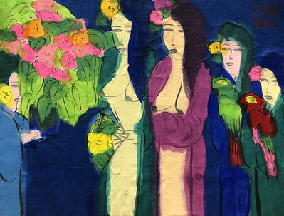 Walasse Ting 丁雄泉, 'Two Charming Oriental Beauties', ca. 1990