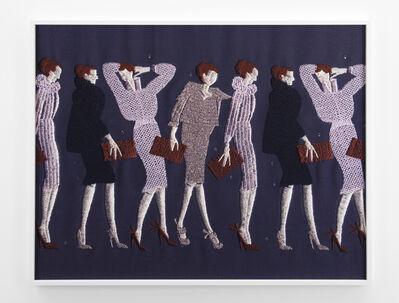 Tobias Kaspar, 'Line of Women with Purses (violet, purple, brown) ', 2019