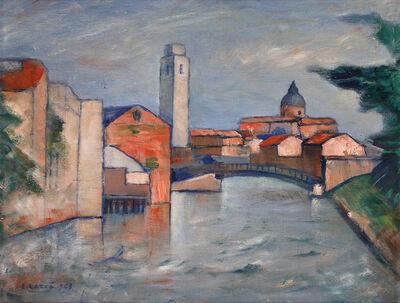 Carlo Carrà, 'Venetian canal', 1948