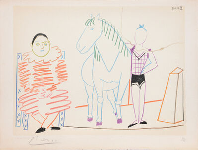 Pablo Picasso, '(Clown and Horse with Rider.) Untitled from Suite de 15 dessins de Picasso. ', 1954