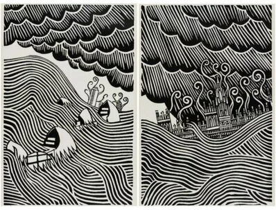 Stanley Donwood, 'Houses of Parliament & Flood Barrier (Matching Number Set)', 2019