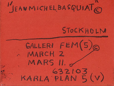 Jean-Michel Basquiat, 'Basquiat 1984 Stockholm exhibition poster (Basquiat prints)', 1984