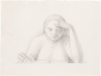 George Tooker, 'Woman Reading', 2001