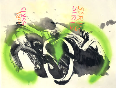 Vivian Liddell, 'SSRI'S SIRIS - Abstract Oil Pastel, Ink and Spray Paint, with Green, Black and Red Colors', 2016