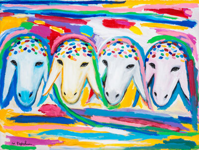 Menashe Kadishman, '4 Sheep Heads', 2000
