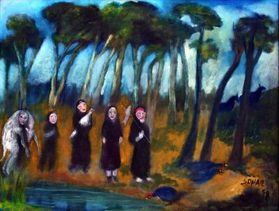 Tasaduq Sohail, 'People in black robes carrying sacrificial animals', 1998