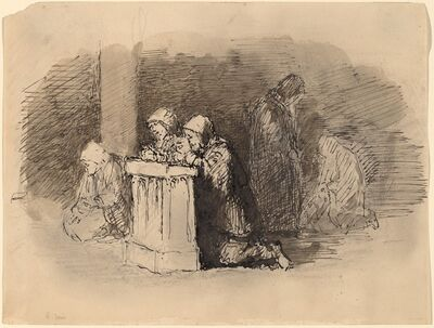 Robert Walter Weir, 'Praying Figures in a Church, Florence', ca. 1824/1827