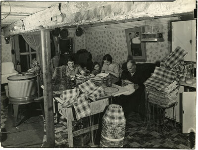 Margaret Bourke-White, 'Jersey City family working at home to assemble lampshades for the Idealite Company, NJ', 1938