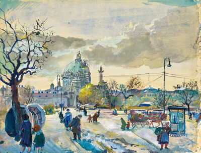 Oskar Laske, 'Karls square in Vienna with the Karls church', 1943