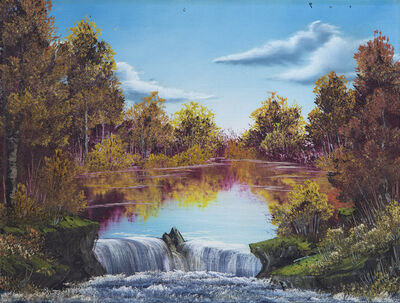 Bob Ross, 'Bob Ross Authentic Original Waterfall Oil Painting Contemporary Art ', 1970-2010