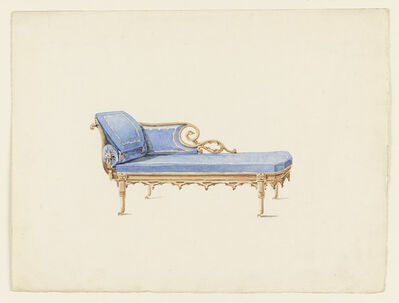 Augustus Charles Pugin, 'Design for a Sofa in the Gothic Revival Style', ca. 1830