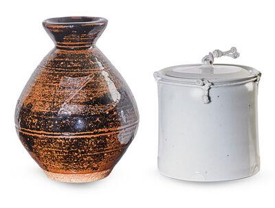 Bernard Leach, 'Leach vase with incised decoration, Temple lidded jar with string'