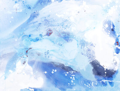 """John Schuyler, '""""Incanto #43"""" Abstract, mixed media painting with white and shades of blue', 2020"""