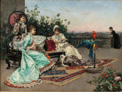 Julius LeBlanc Stewart, 'Twilight on the Terrace, Paris'