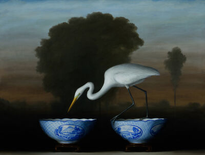 David Kroll, 'Egret and Blue Bowls', 2017