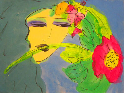 Walasse Ting 丁雄泉, 'Girl with a Pink Rose', 1990-1999