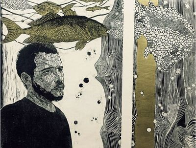 Ahmad Saber, 'Man with Fish (Diptych) ', 2019
