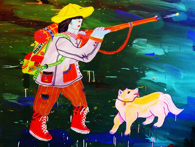 Misaki Kawai, 'Green Hunter (Hunter with Dog)', 2008