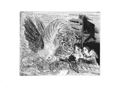 Pablo Picasso, 'Harpye à Tête de Taureau, et Quatre Petites Filles sur une Tour surmontée d'un Drapeau noir (S.V. 13)', 1934