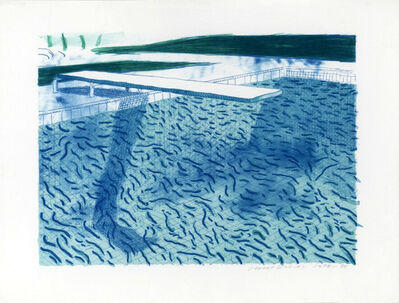 David Hockney, 'Lithograph of Water Made of Thick and Thin Lines and Two Light Blue Washes', 1978-1980