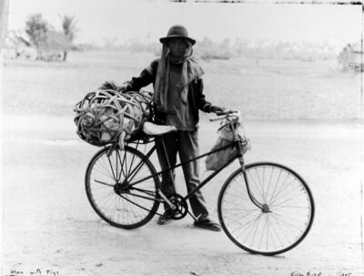 Bill Burke, 'Man with Bicycle and Pigs Between Kampong Thom and Siem Riep, Cambodia', 1995
