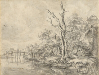 Jacob van Ruisdael, 'Dead Tree by a Stream at the Foot of a Hill', 1650-1660