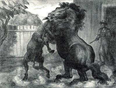 John Steuart Curry, 'Stallion and Jack Fighting', 1943