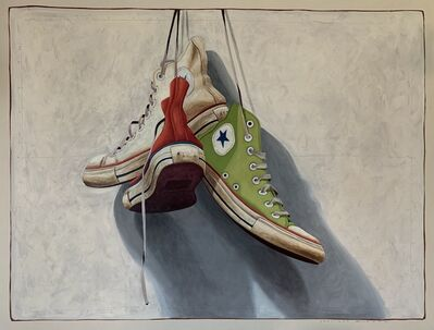 "Santiago Garcia, '""#1319"" Photorealistic oil painting of red, green and white converse high tops on white background', 2019"