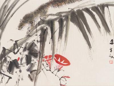 Chen Wen Hsi, 'Squirrels with Red Flower'